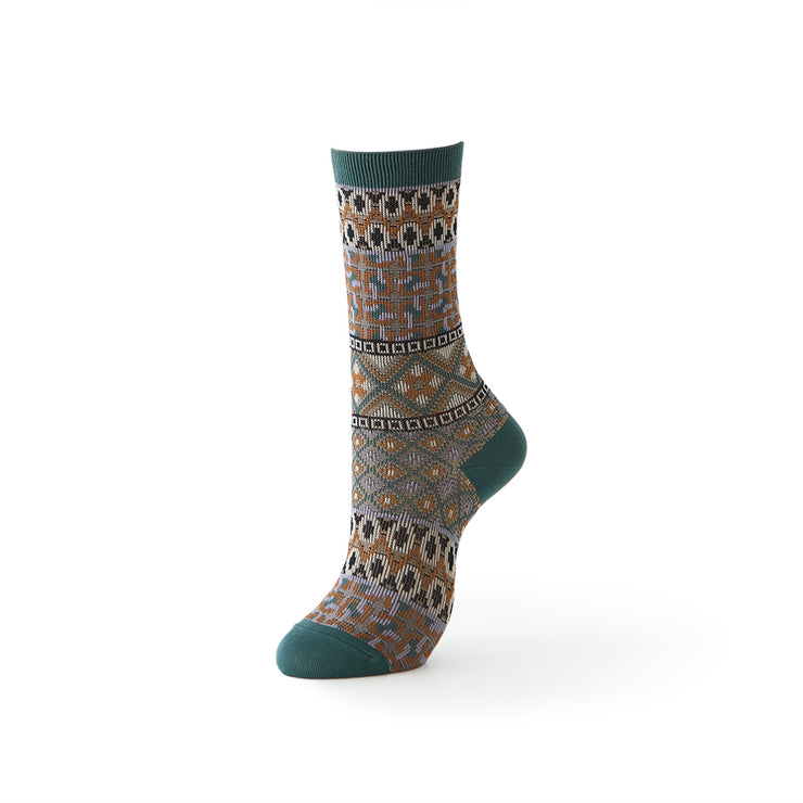 Jacquard Geometric Silky Cotton Crew Socks