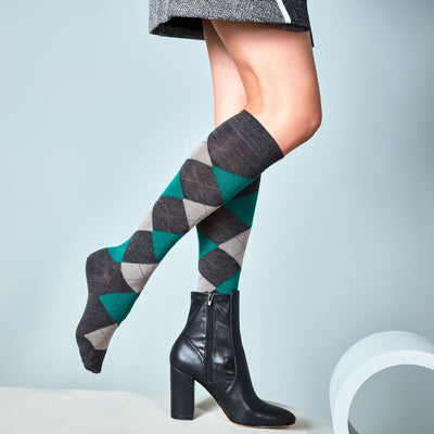 Argyle Light Wool Knee High Socks