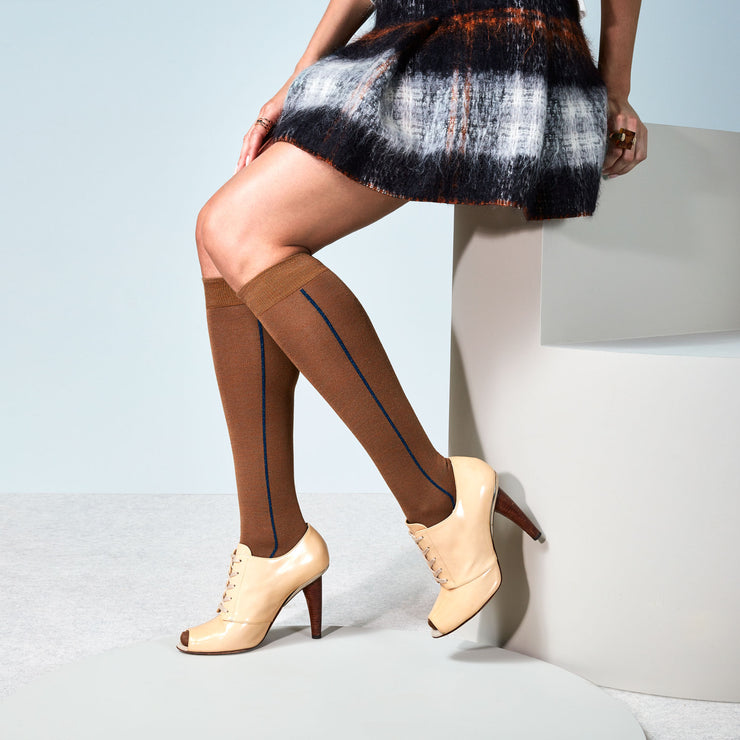 Glitter Line Light Wool Knee High Socks