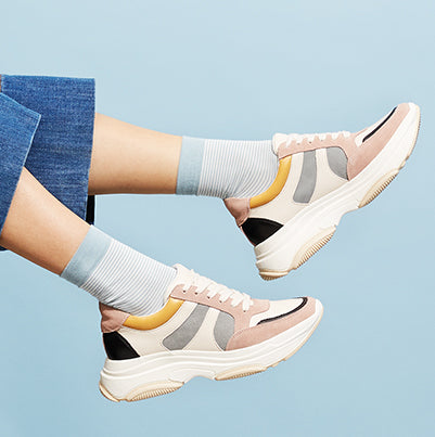 Stripe Rayon-Silk Short Crew Socks