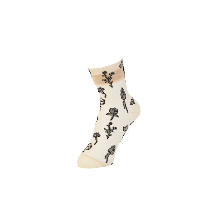 Floral Monotone Sheer Short Crew Socks