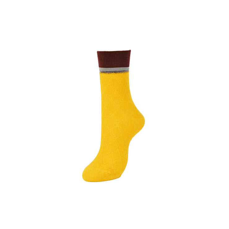 Float Diamond-Pattern Short Crew Socks
