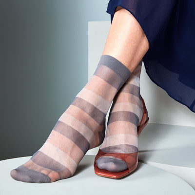 Bold Striped Sheer Short Crew Socks