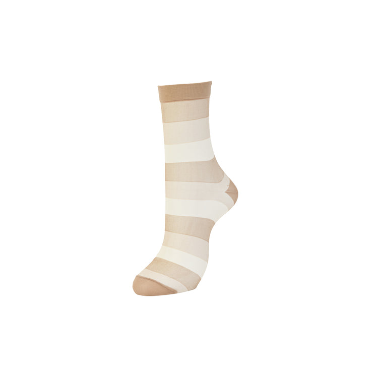 Bold Striped Sheer Crew Socks