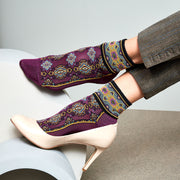 Ethnic High-Gauge Cupro Ankle Socks