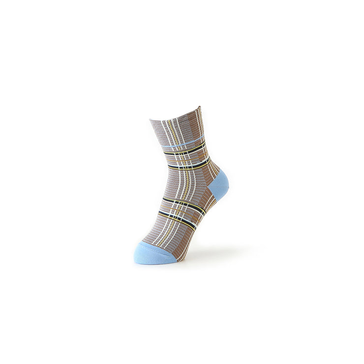 Multi-Color Plaid Cotton Short Crew Socks