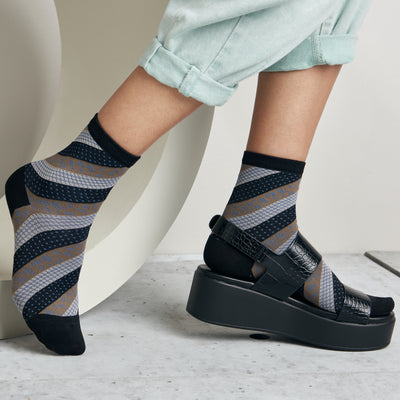 Multi Designed Stripe Short Crew Socks