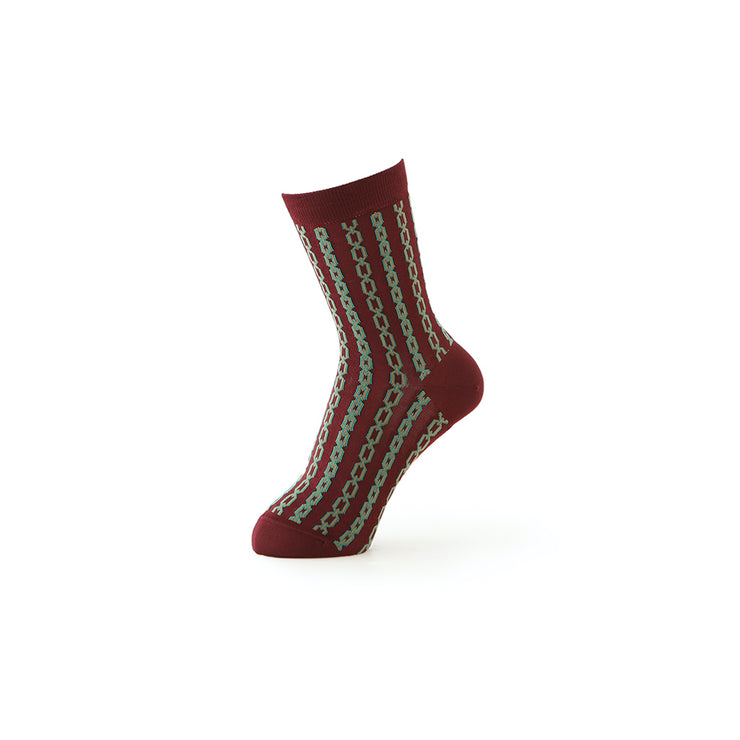 Chain Pattern Silky Short Crew Socks