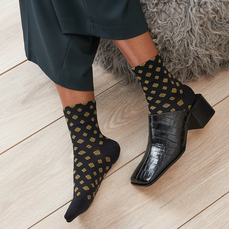 Vintage Pattern Silky Short Crew Socks