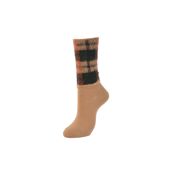 Fluffy Plaid Crew Socks