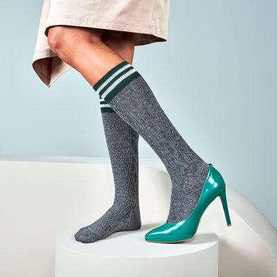 Top-Striped Jacquard Cable Wool Knee High Socks