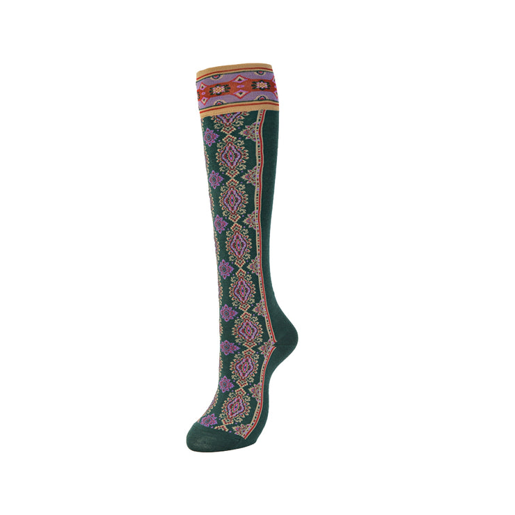 Ethnic High-Gauge Cupro Knee High Socks