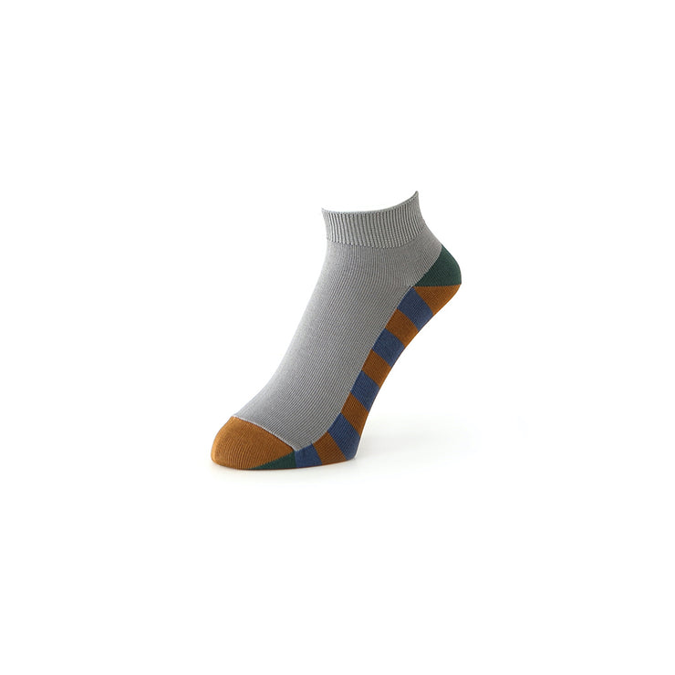 Striped Sole Cotton Short Crew Socks