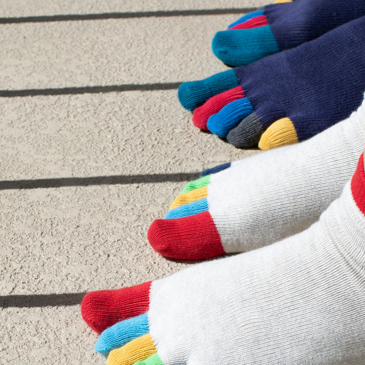 Men's Colorful Toes Anti-Odor Cotton Short Crew Socks