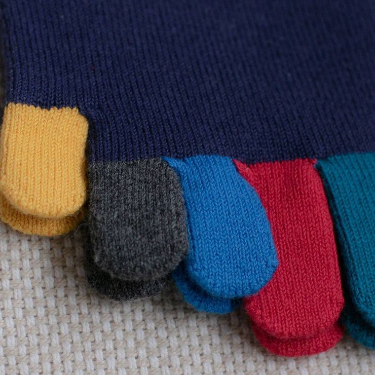 Men's Colorful Toes Cotton Short Crew Socks