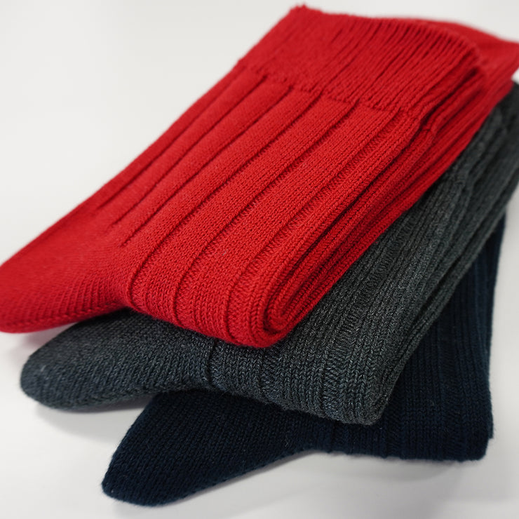 Wide-Ribbed Cotton Short Crew Socks