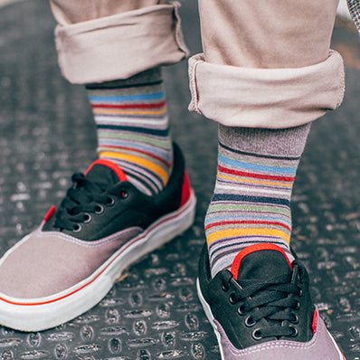 Racing Stripe Cotton Crew Socks
