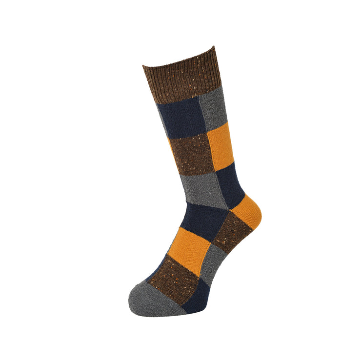 3-D Patchwork Wool Crew Socks
