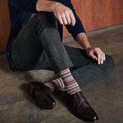 Fair Isle Cotton Blend Crew Socks
