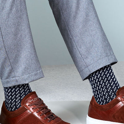 Bird's Eye Cashmere-Blend-Wool Crew Socks