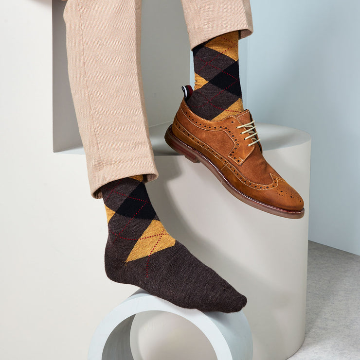 Argyle Light Wool Crew Socks