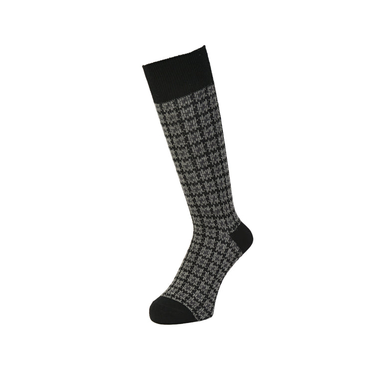 Houndstooth Wool Crew Socks