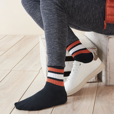 Ribbed Stripe Anti-Odor Cotton Piles Crew Socks