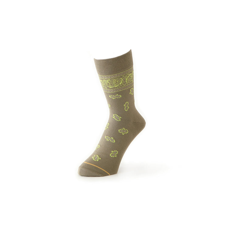 Paisley Cotton Crew Socks