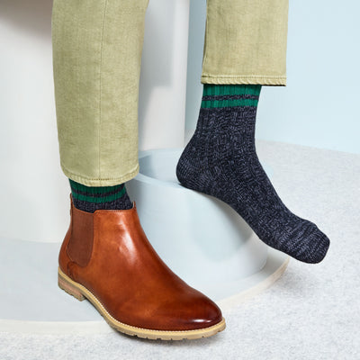Lines Bulky Cotton Crew Socks