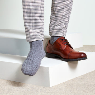 Ribbed Lamb Wool Crew Socks