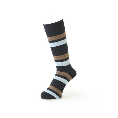 Bicolor Stripe Cotton Crew Socks