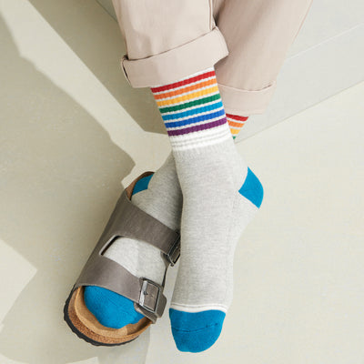 Ribbed Rainbow Stripe Cotton Piles Crew Socks