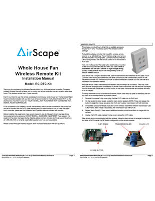 Wireless Remote Kit Installation Manual