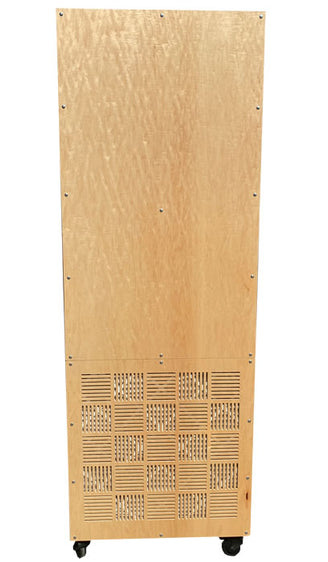 AIRSCAPE X6 HEPA TOWER FRONT VIEW. SHOWN IN MAPLE FINISH AND TOP DISCHARGE.