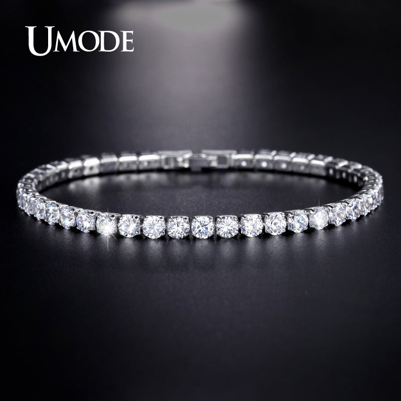 UMODE Stunning White Gold/Rhodium Plated Tennis Bracelet