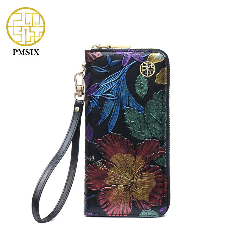 PMSIX Embossed Leather Wallet