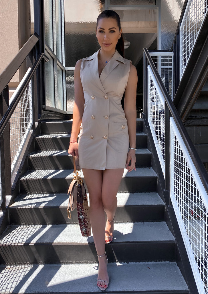 Utility Double Breasted Short Dress with Gold Buttons