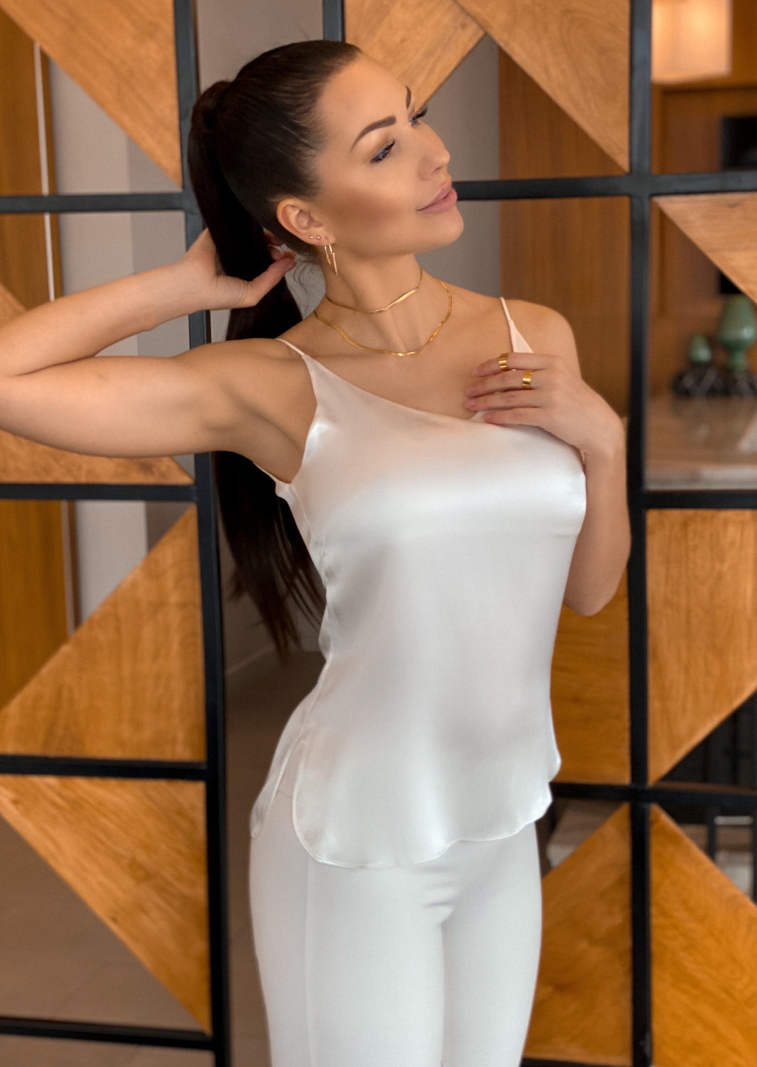 Silk camisole top in luscious white