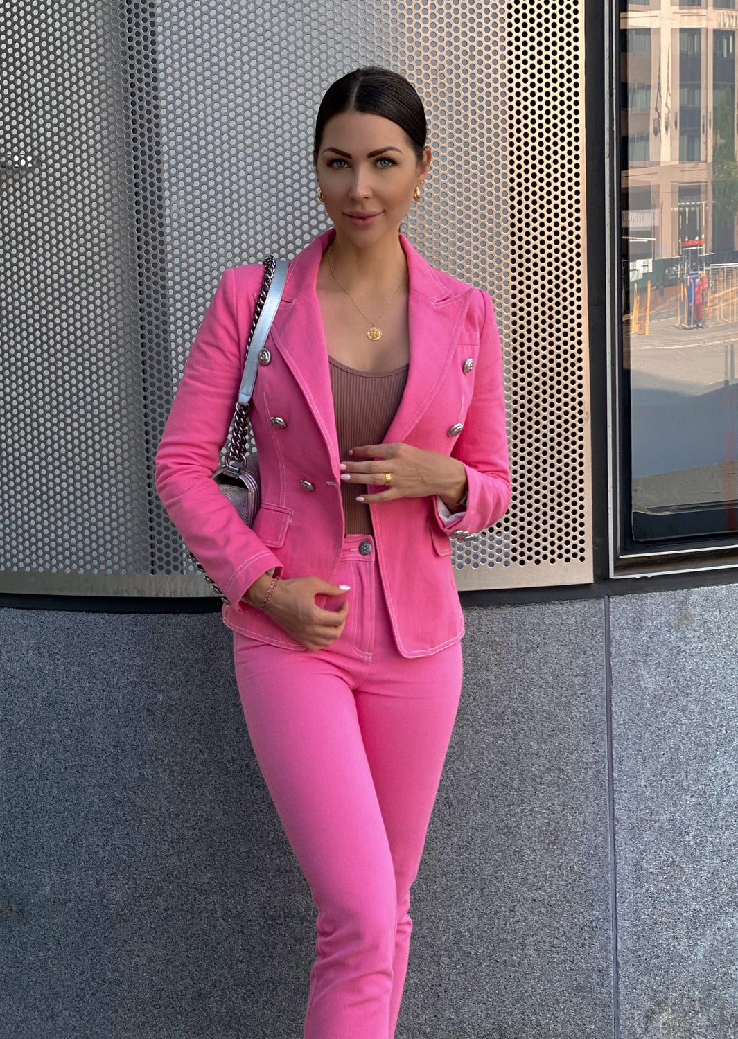 Pink Double-breasted Denim Blazer & Pants Set