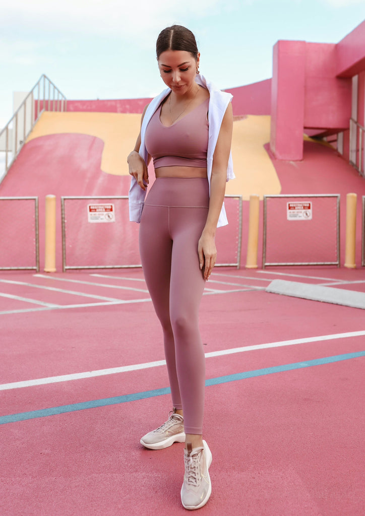 High-waist airbrush leggings - Pastel Pink