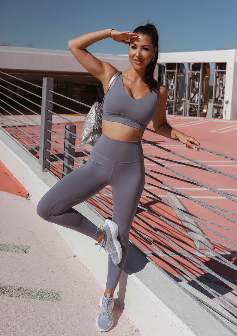 High-waist airbrush leggings - Grey