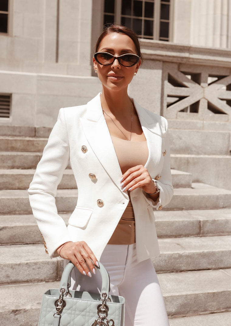 Double-Breasted Blazer Gold Tone Buttons - Milky White