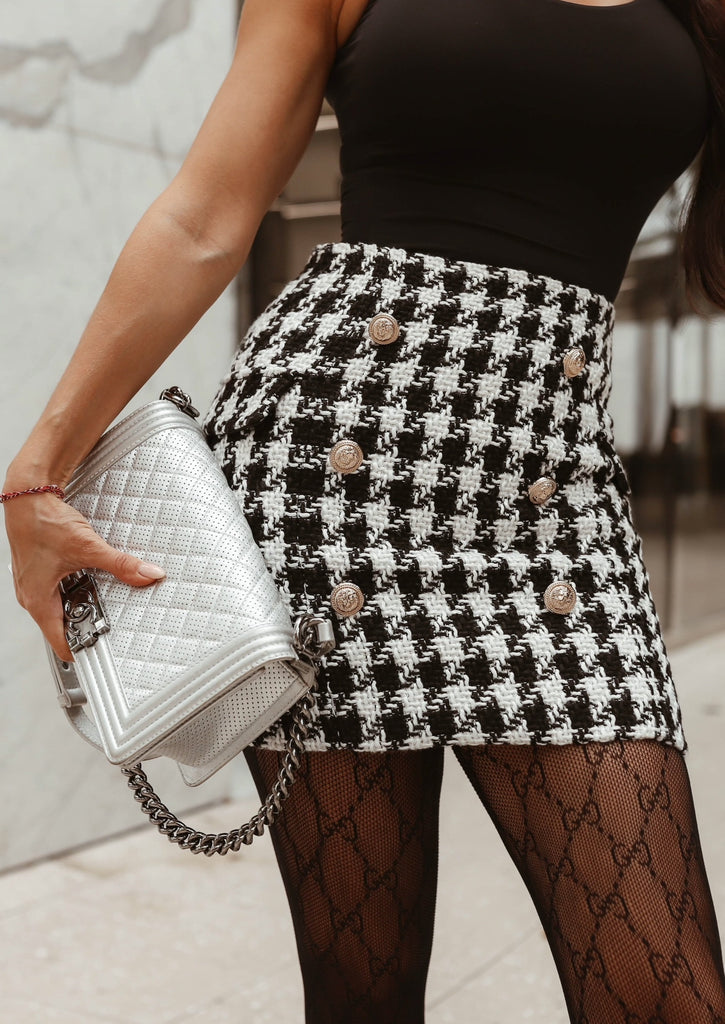 HOUNDSTOOTH BUTTON SKIRT WITH GOLD BUTTONS