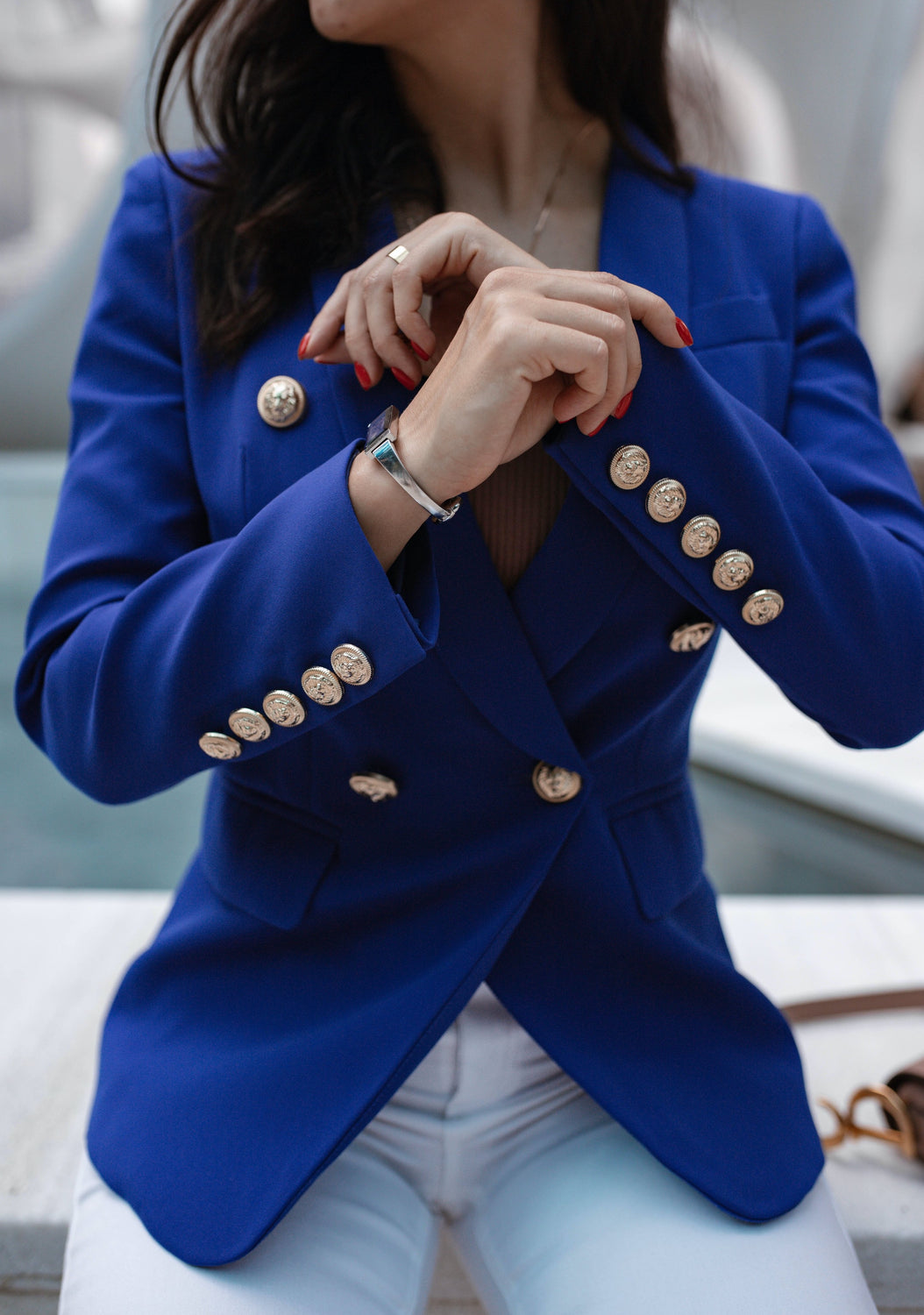 Royal Blue Double-breasted Blazer Gold Tone Buttons