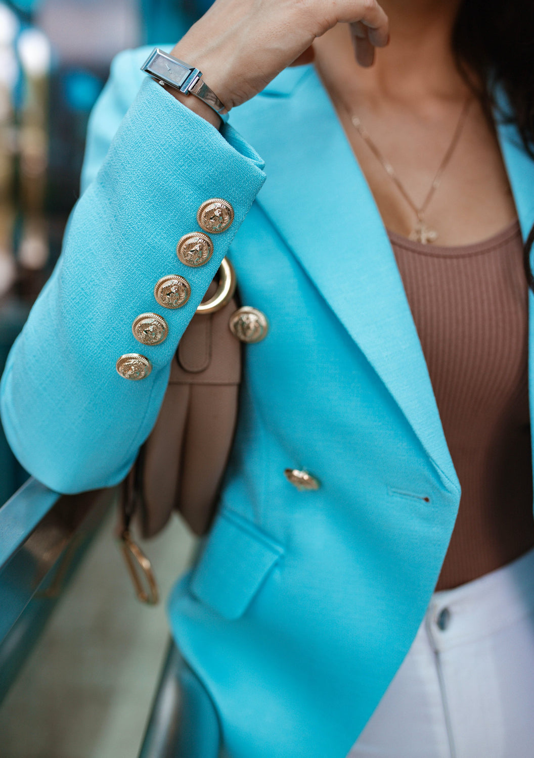 Turquoise Double-Breasted Blazer Gold Tone Buttons