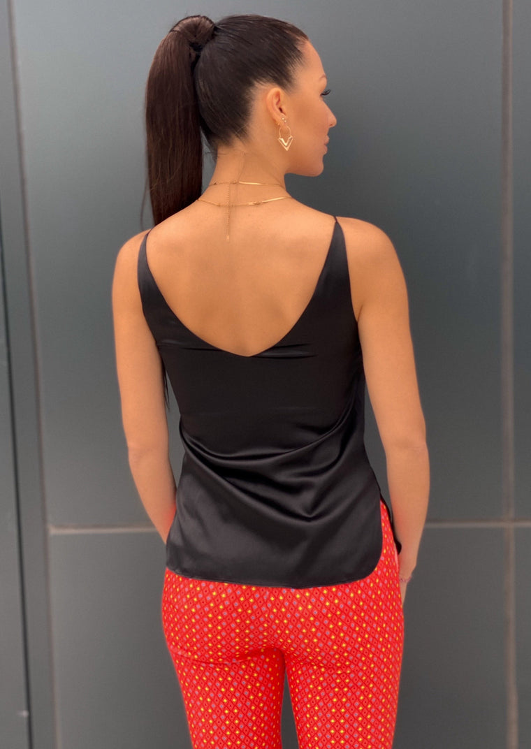 Silk tank top with a luscious black sheen