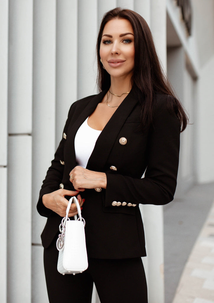 Black Double Breasted Blazer & Pants Suit Set