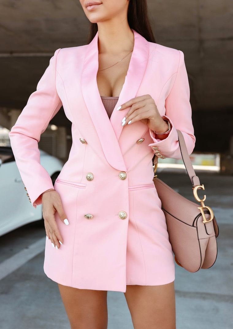 SATIN COLLAR PINK BLAZER DRESS WITH GOLD TONE BUTTONS