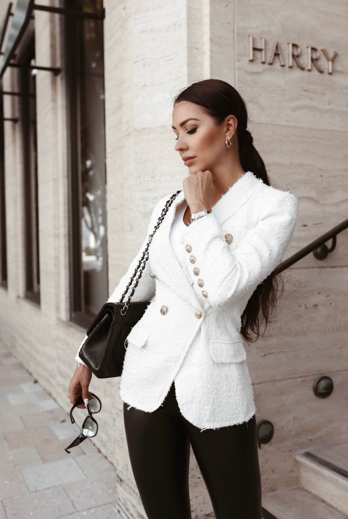 Tweed Long Ivory Blazer