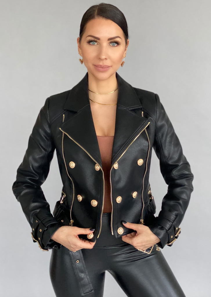Vegan Leather Moto Biker Jacket